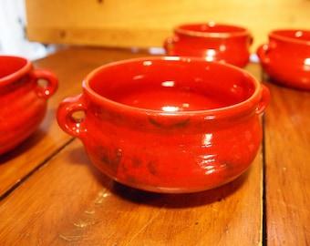 4 red pottery bowls Laurentian Laurentian pottery
