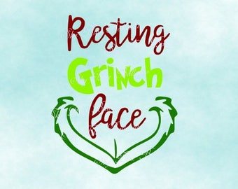 Grinch SVG, Resting Grinch Face Svg, Grinch Face SVG File, Grinch Christmas DXF, Funny Christmas Svg, Files For Silhouette, Files for Cricut