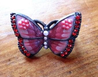 Little Red Enamel Rhinestone Butterfly Brooch Pin