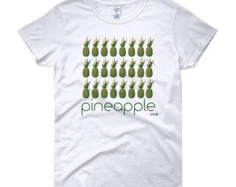 Pineapple Grid T-Shirt - Womens - Foodie - Chef - Organic