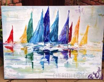 SAIL BOATS | Acrylic Painting | Coloured Sail Boats | Sail Boats on River