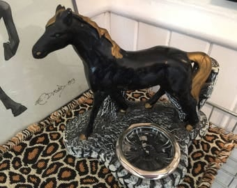 Horse Statue with Ashtray 50s Vintage Black and Gold