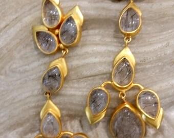 Black Rutile Quartz Handmade Earrings - Sterling Silver Gold Plated