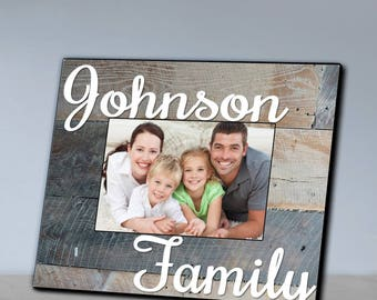 Personalized Family Grey Wood Grain Picture Frame - Family Photo Frames - Family Picture Frames - Wood Picture Frames - Family Memory Gifts