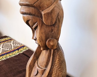 Balinese carved statue // teak woman carving