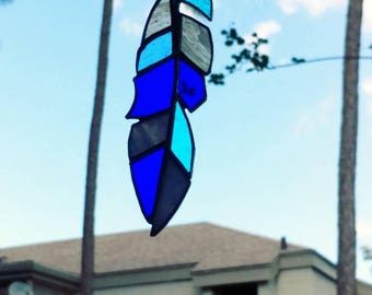 Stained glass feather sunchasers