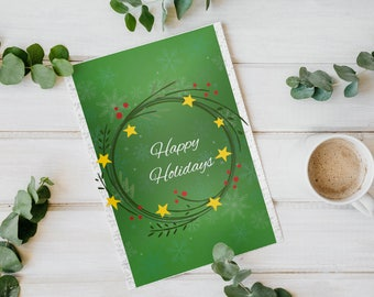 Set of 2 Christmas cards, green christmas cards set