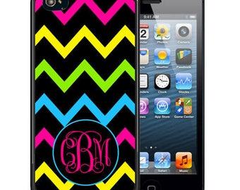 Monogrammed Rubber Case For iPhone X, 8, 8 plus, 7, 7 plus, 6s, 6s plus, 5, 5s, 5c, SE - Black Neon Chevron