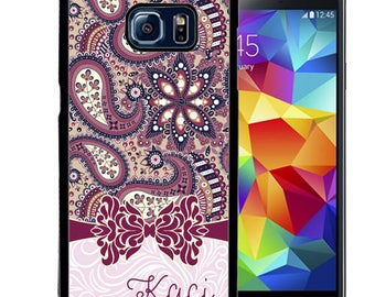 Personalized Rubber Case For Samsung S5, S6, S6 edge, S6 Edge Plus, S7, S7 Edge,  8, 8 plus -  Purple Paisley Bow