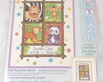 Wild Thing Birth Record Baby Hugs Counted Cross Stitch Kit New Dimensions 73250 Lion Giraffe Monkey Panda Bear