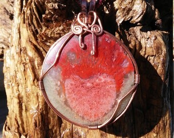 Fossil red horn coral and copper