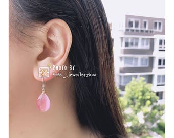 925 Slicer Raindrop Resin Earrings - Pink