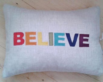 Organic Linen Word Cushion with Silk Applique BELIEVE