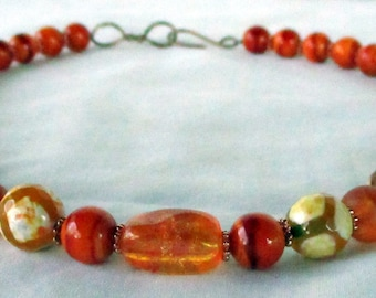 Beaded necklace of tangerine colored agates, copper spacers, handmade s-hook clasp