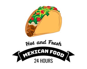 Taco illustration SVG | Mexico Food | Traditional Mexican Cuisine | Cartoon | Hot and spisy | Digital File | Logo | Label