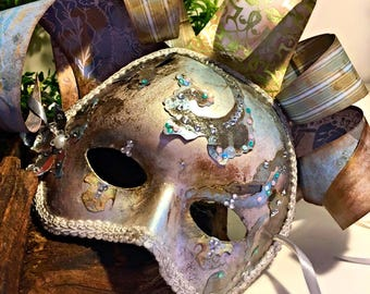 Surely You Jest, masquerade,Mardi Gras, costume mask, party mask, venetian mask,festival mask, court jester mask, antique mask, fools mask