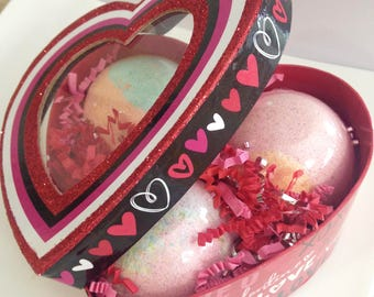 Heart Box of Bath Bombs,Large Bath Fizzies,Gifts for Her,Perfect Romantic Gift for Her,Surprise Inside Your Bath Bomb,Luscious Bath Bombs