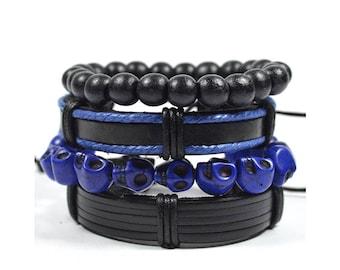 4 Pack Blue and Black Remix Bracelet Set