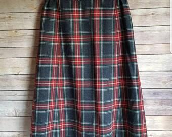 Vintage Pendleton Wool Christmas Plaid Womens Skirt Small