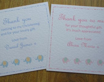 10 x Personalised Christening Invitations / Thank You ~ ELephants design ~ Available in Pink or Blue