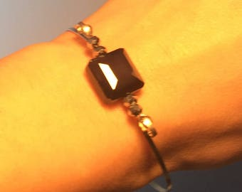 Black Stone Bangle Bracelet