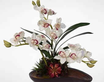 Real Touch White Cymbidium Orchid Arrangement in a Curved Wooden Style Bowl #31W