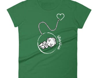 Baby inside funny preggers pregnancy pregnant woman momma to be, future mom  Tshirt Women's short sleeve t-shirt