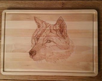 Pyrography, woodburning,  wolf,  animal, beech wood, beukenhout