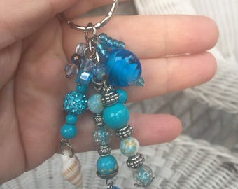 Keychain in turquoise color