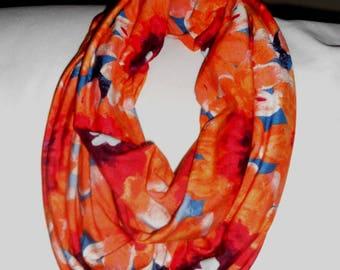 Multi-colored orange cowl scarf