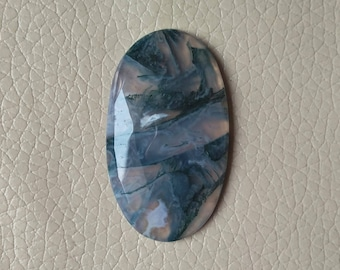 Moss Agate Cabochon Excellent Quality 100% Natural 52 Carat, One Side Cutting Moss Agate Gemstone, Moss Agate Size 45x27x7 MM Approx.