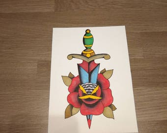 Dagger and Rose. Traditional tattoo style original painting