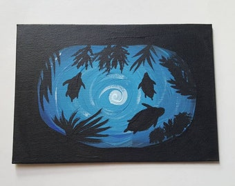 Turtle Family Silhouette Painting