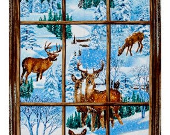 Exclusively Quilters,  Fabric Panel, Snowy Christmas window scene