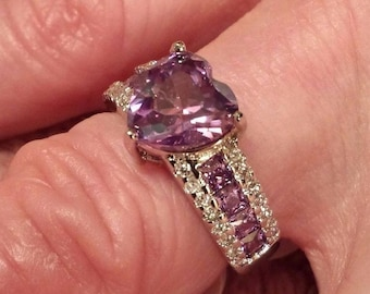 Sterling Silver Plated Amethyst & White Topaz Gemstone Heart Ring Size 7