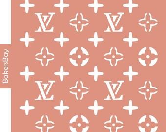 Louis Vuitton Cake Stencil, Cookie Stencil, Designer Stencil, Decoupage stencil, Tortenschablone