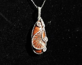 Red jasper pendant, jasper pendant, silver colored copper necklace, wirework necklace, wire wrap pendant, jasper necklace