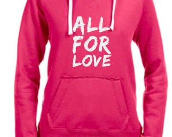 Pink V-neck hooded sweatshirt