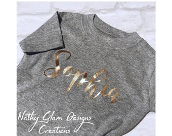 Gold lettering t shirt
