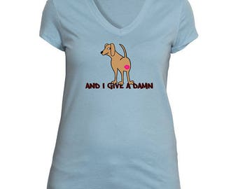 Women's V-neck anGRRy dog T-shirt - And I Give A Damn