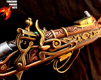 Steampunk, Steampunk gun, Steampunk Pirate Gun, Steampunk Nerf type gun, Red Green Lights