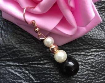 Black white glass beaded earrings
