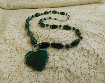 Valentine Necklace, Heart Necklace, Stone Bead Necklace, Jasper Necklace, Moss Agate Necklace, Green Quartz Necklace, Beaded Necklace