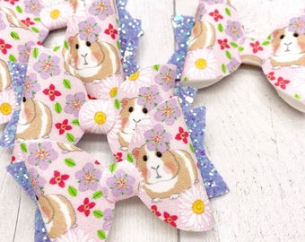 Guinea pigs fabric & glitter Medium hair bow clip headband hair accessories nylon hair piece