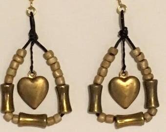 Triangle Heart Dangle Earrings