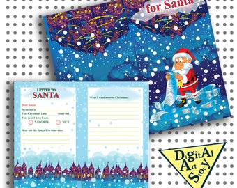 Letter to Santa Printable card Christmas Santa Letter Printables Christmas Wish List naughty or nice dear santa kids christmas party pdf