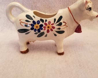 Vintage Ceramic Hand painted Cow Creamer