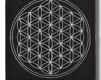 Flower of life full - embroidered patch, 12x12 cm