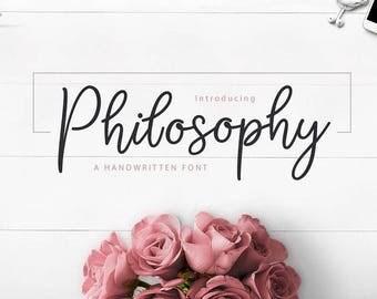 Calligraphy Font,  Swirly Font, Wedding Watercolor, Christmas font, Handwritten Script  Instant Download - Philosophy Script Font