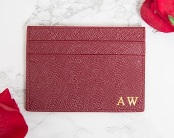 Customised Genuine Saffiano Leather Credit Card Holder in burgundy, Personalised Monogrammed Embossed initials Double card holder, wallet